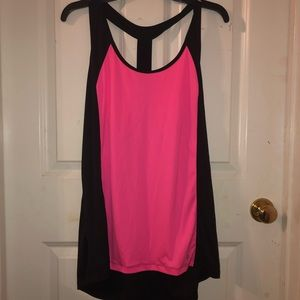 BLACK AND PINK RACERBACK TANK